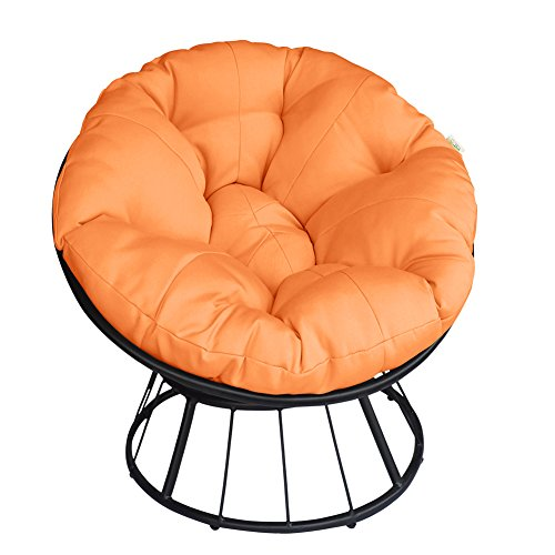 ART TO REAL Deluxe 360 Swivel Papasan Chair with Soft Cushion, Outdoor Patio Swivel Glider Rocking Lounge Chair, Deep Seating Moon Chair, Solid Twill Fabric Orange Cushion