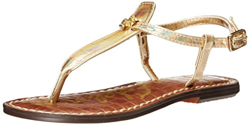 Sam Edelman Kids Gigi Charm T Strap Sandal (Little Kid/Big Kid), Pale Gold Holographic Croco, 2 M US Little - Gigi Gold