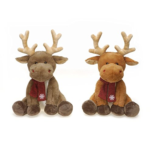 2-Pack, Christmas Sitting Reindeer with Scarf Plush Toys, Tan and Brown, 14 Inches (Christmas Stuffed Animals)