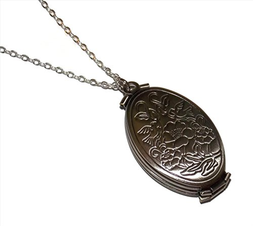 Four Fold Photo Locket Necklace - 18 Inch Chain - Bird Flower Print Antiqued Silver Tone