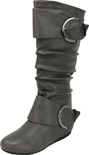(Cambridge Select Slouchy Pull On Mid Calf Round Toe Buckle Boot (8 B(M) US, Grey))
