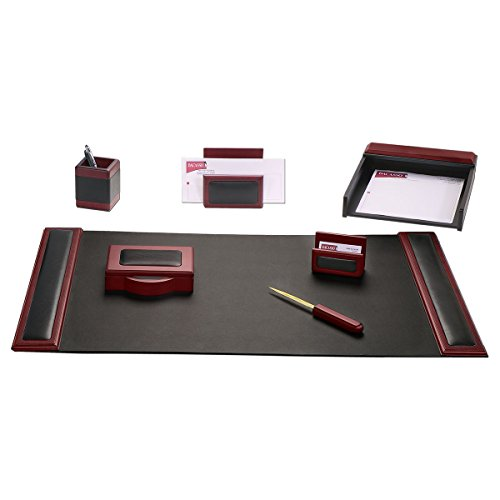 Dacasso Rosewood and Leather Desk Set, 7-Piece