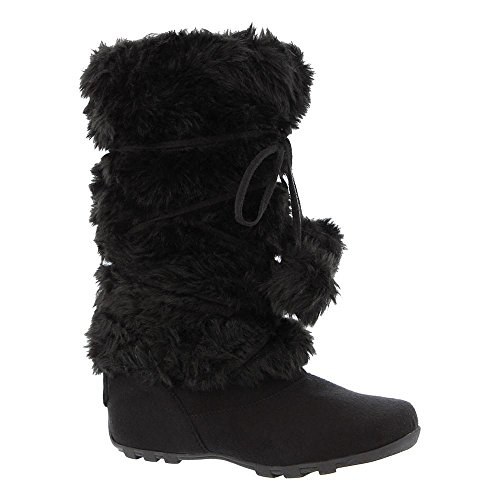 Cold Fur Weather BLOSSOM Boots Suede Black Faux Women's DE COLLECTION and Vegan BY Casual Pom Pom angelina OYwx7CHc