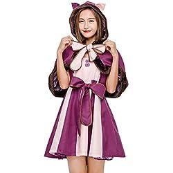 SShuangxu Ropa para Padres e Hijos de Halloween, Alicia en el país de Las Maravillas Gato Sonriente Vestido de Traje de Cosplay para Mujeres Niñas Cosplay Onesies Ropa