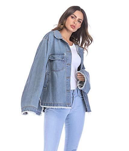 Xsayjia Giubbotto Casual Oversize Felpa Jeans 1 Di Denim Lavato Lunga Giacca Manica Donna Cappotto Giacche 7wO7qvrYX