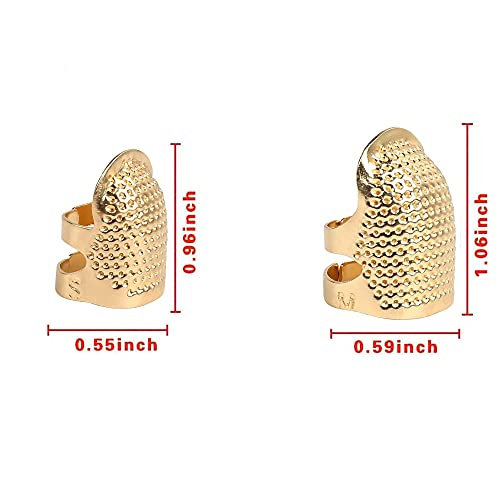 AXEN 4 Pieces Sewing Thimble, Metal Gold Sewing Thimble Finger Protector, Accessories DIY Sewing Tool, Two Size 4 Pieces