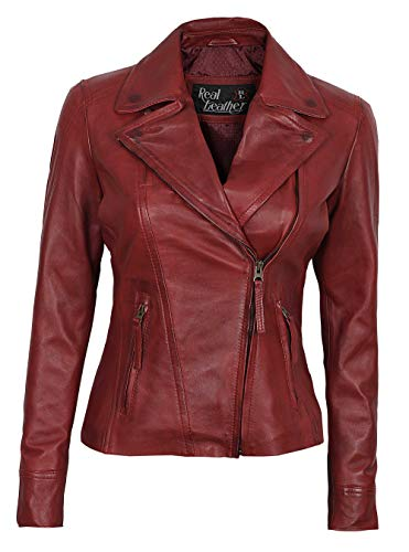 Womens Red Asymmetrical Jacket - Genuine Lambskin Women Jakcet | Ramsey, M