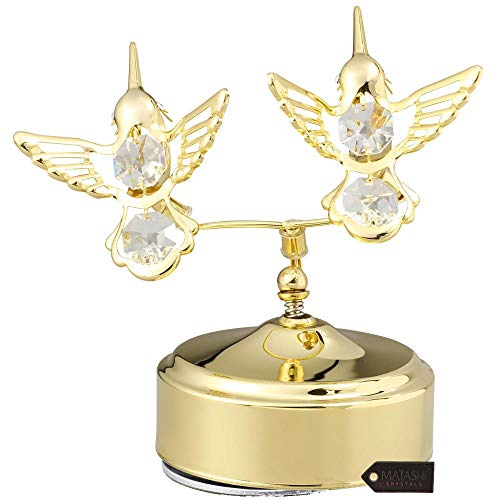 Matashi 24K Gold Plated Music Box with Two Crystal Studded Hummingbirds Figurine, Best Gift for Valentine's Day, Birthday, Mother's Day, Christmas, Anniversary (Crystal Watch Box Gift)