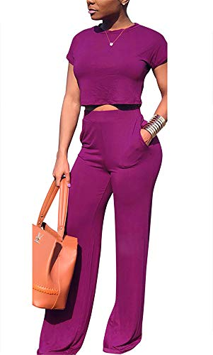 Women Sexy Fashion Round Neck Short Sleeves Crop Top Wide Leg Long Pants with Pockets Solid Color Club 2 Piece Outfits ()