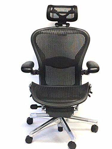 Herman Miller Executive Size B Fully-Adjustable Lumbar Support Aeron With H4 Carbon Headrest (Chair Office Pinnacle)