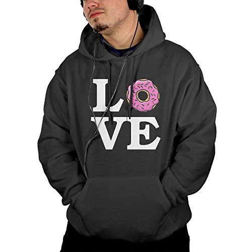 George Washington Costume Youth (Mens Love Donuts Pullover Hoodie With Front Pocket X-Large)