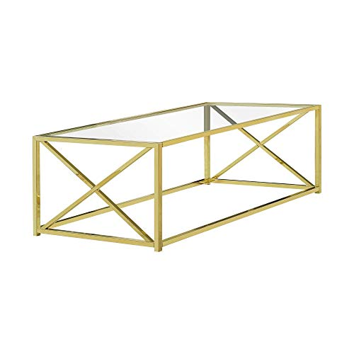 Monarch Specialties I I 3444 Coffee Table, Gold