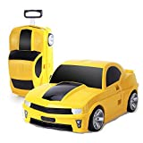 Children's Trolley Case, Children Can Ride A Car Cartoon Suitcase, Drag The Suitcase (18 Inch) (Color : Yellow, Size : M)