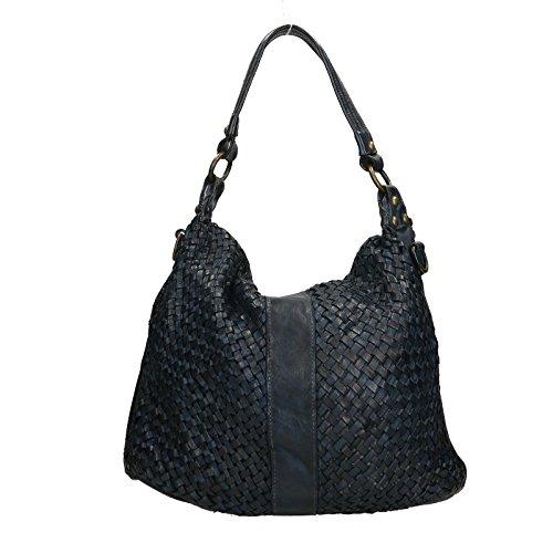 Pelle Cm Chicca 40x30x13 Blu Made Borsetta Genuine Italy Vera Donna Elegante a in Spalla Borse 100 da in Leather Pochette TqrTwvU