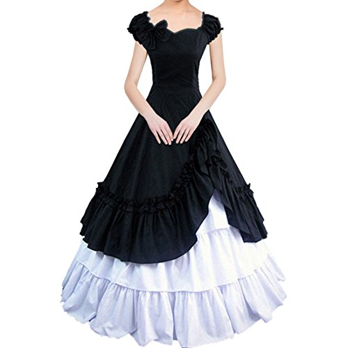 Partiss Womens Satin Ruffles Gothic Wedding Party Dress,Large, Black