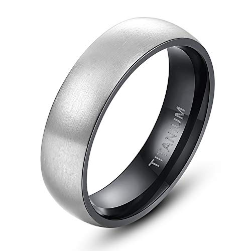 Womens Band 6mm Wedding - TIGRADE 6mm/8mm Men's Titanium Ring Brushed Dome Wedding Band Comfort Fit Size 4-14 (Black 6mm, 11)