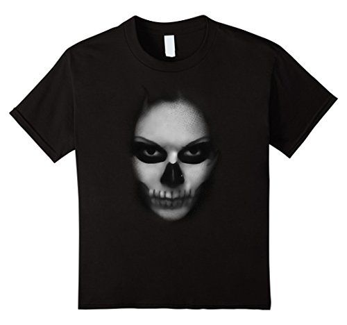 Kids Halloween Scary Face Painted Skull in Darkness t-shirt 10 (Halloween Face Painted Skulls)