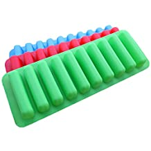 Water Bottle Ice Cube Trays Pop-Out Silicone Make 30 Frozen Cylinder Sticks, Pack of 3 from Kaimao