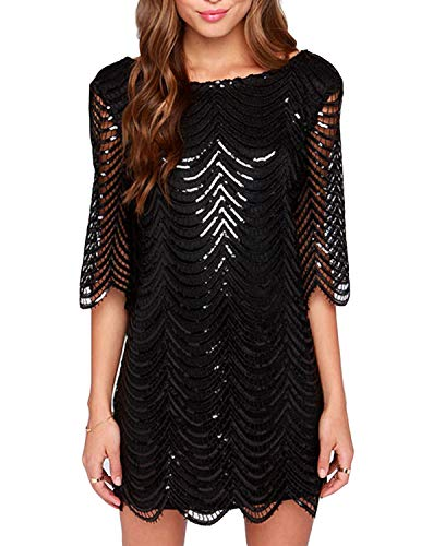 ASMAX HaoDuoYi Womens Sparkle Sequin Lace Hollow Out Half Sleeves Mini 1920's Party Dress Black
