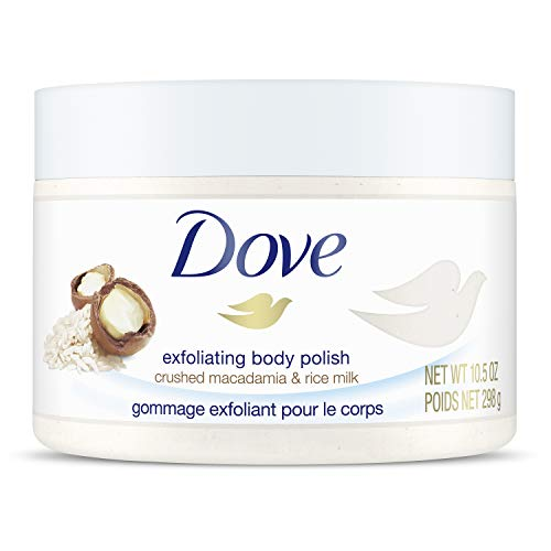 Dove Exfoliating Body Polish Body Scrub To Help Revive Dry, Dull Skin Macadamia & Rice Milk Polishes and Nourishes Your Skin 10.5 oz