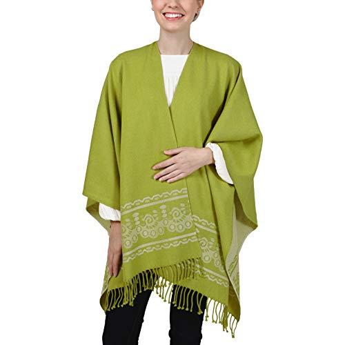 Ecuadane Poncho - Wear as a Wrap, Shawl, or Pashmina, Handmade in Ecuador, One Size Fits All - Color: Grass