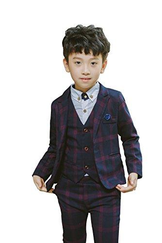 YUFAN Boys Plaid Suits Formal Dress Blazer Vest Pants 3 Pieces Gray & Navy 2 Colors (5, Navy)