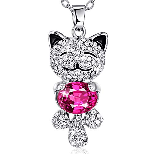 BONLAVIE Angel Cat Pendant Necklace White Gold Plated Chain Jewelry with Red Austrian Crystal Austrian Crystal Angel Necklace