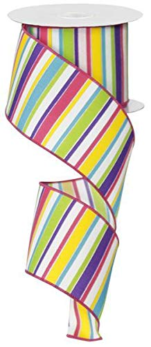 Multi Stripe Pink Blue Yellow Red Green White Wired Ribbon 2.5