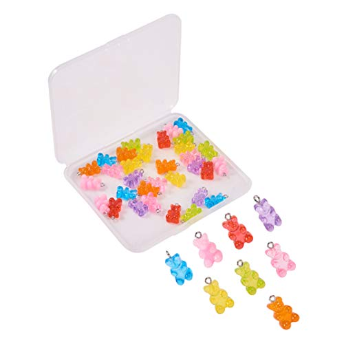 WANDIC Resin Gummy Bear Pendant, 40 Pcs 8 Colors Cartoon Bear Pendants Keychain Pendant DIY Necklace Accessories