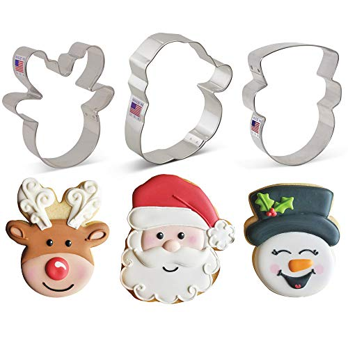 Faces of Christmas Cookie Cutter Set - 3 piece - Santa Face, Reindeer Face & Snowman Face - Ann Clark - USA Made Steel