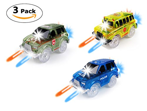 Track Car 3 Pack, Green Military Jeep, Blue Police and School Bus Car, with 5 LED Lights, Compatible with Most Tracks Including Magic Tracks, Neo Twister Tracks, Boys and Girls
