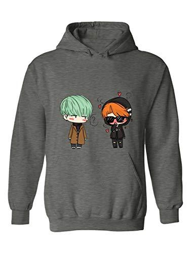 The Incredible BTS Min Yoongi & Kim Taehyung Chibi Fire - The Hawaiin Couple - TaeGi - Sugakookie K-Pop Hoodie Sweater by The Incredible BTS