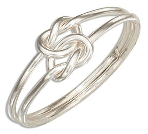 Sterling Silver Medium Gauge Double Love Knot Ring (size 08)