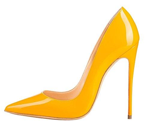 High 120mm Chaussures Grande Heel Jaune Sexy Talon Edefs Escarpins Aiguille Vernis Femme Taille qg1YFp