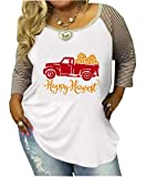 DUTUT Women's Plus Size Happy Harvest Shirt Fall Thanksgiving Top Blouse Long Sleeve Striped Patchwork Tops Tees Size XXXL (White)