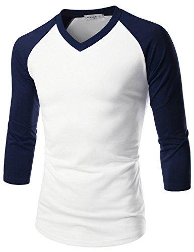 NEARKIN (NKNKR7T621) Unisex 3/4 Sleeve Raglan Design V-Neck Fitted T-shirts WHITENAVY US S(Tag size M)