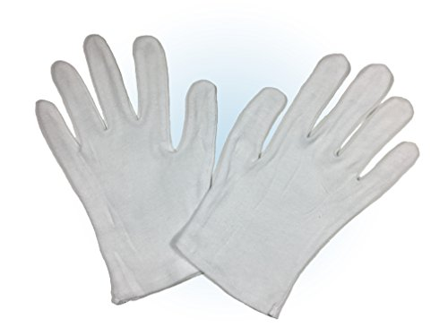 White 100% Cotton Lisle Gloves for Coin, Jewelry, Silver, or Photo Inspection - Perfect for Eczema, Moisturizing Lotion Treatments, and Other Dermatological Uses - Size Medium - 6 Pairs (12 Gloves)