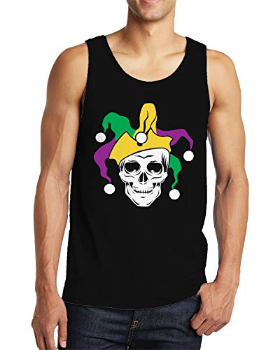 SpiritForged Apparel Mardi Gras Skull Jester Men's Tank Top, Black 2XL]()