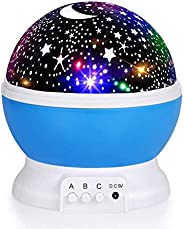 Luckkid Baby Night Light Moon Star Projector 360 Degree Rotation - 4 LED Bulbs 9 Light Color Changing with USB