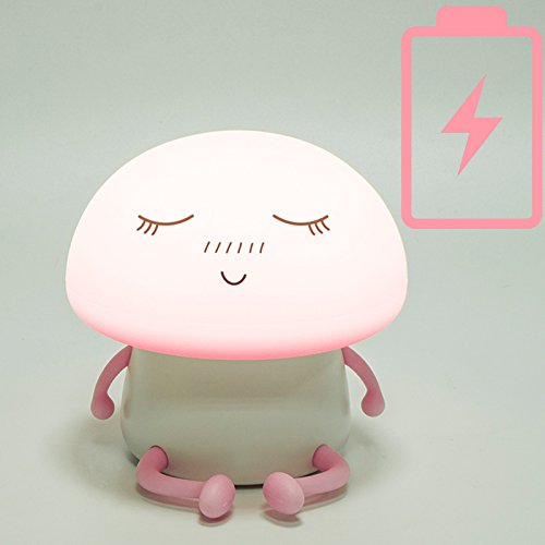 LuxLumi Silicone Emoji Mushroom Buddy LED Touch Nightlight is Dimmable, Portable, Rechargeable or Battery Powered for Toddlers, Children, Kids, Teens, or Nursery (Meditating Pink (Battery)) by LuxLumi