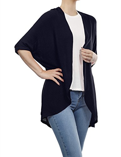 BH B.I.L.Y USA Women's Dolman Sleeve Open Front Waffle Cardigan Navy Small