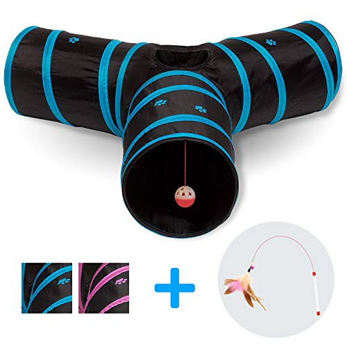 All Prime Cat Tunnel - Toys for Cats - Cat Tunnels for Indoor Cats - Cat Tube - Collapsible 3 Way Pet Tunnel - Great Toy for Cats & Rabb