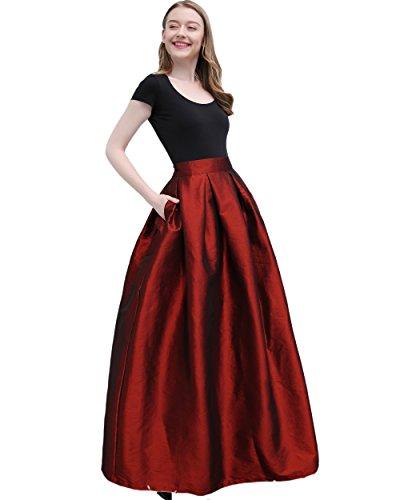 FOLOBE Women's Big Pendulum Taffeta A Line Maxi Skirts Length 43.31in/110cm Red L (Taffeta Skirt Long)