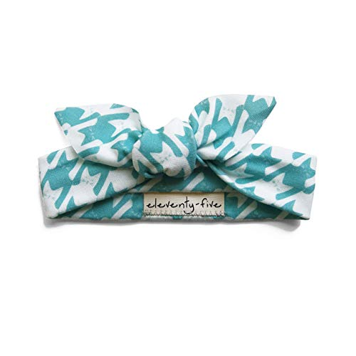 Cats-Tooth (Houndstooth) Organic Babies & Kids Adjustable Knotted Headband in Teal & Turquoise