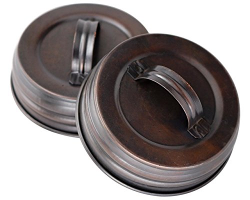 - Oil Rubbed Bronze Canister Lid With Handle For Mason Jars (4 Pack, Regular Mouth)