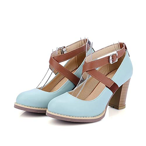 Pump Almond Blue Heels ZHZNVX Polyurethane Summer Shoes Heel PU Chunky Light Basic Purple Women's Purple YYB4p