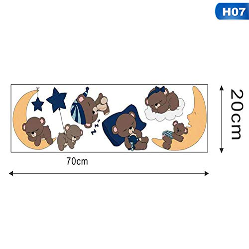 Love & Freedome Cartoon Sleep Brown Bears Color Wall Sticker for Kids Room Nursery Decoration Wall Art Decal Mural Wallpaper Baby Home Decor,07 - Wallpaper Kmart
