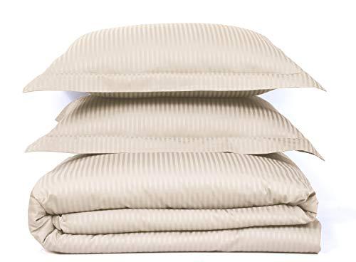 500 Thread Count 100% Cotton Stripe, Best Hotel Luxury Bedding 3-Piece Duvet Cover Set Zipper Closure-Full/Queen (90