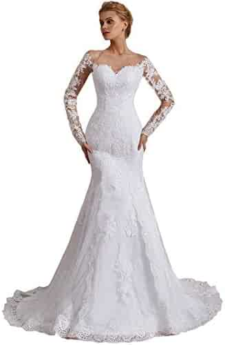 5c90c943096 OYISHA Off Shoulder Lace Mermaid Wedding Dresses 1 2 Sleeve Bridal Gown  WD164