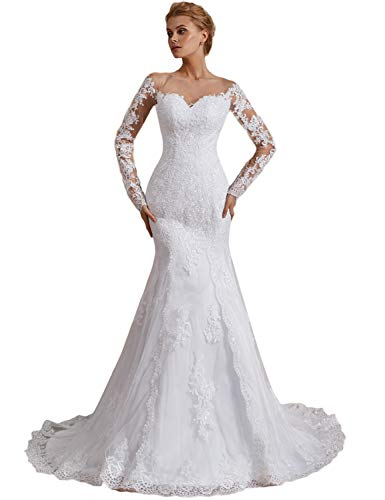 Trumpet Sleeve - OYISHA Off Shoulder Lace Mermaid Wedding Dresses 1/2 Sleeve Bridal Gown WD162 White 4